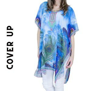 Blue Feathers Chiffon Beach Swim Cover Up Top OS